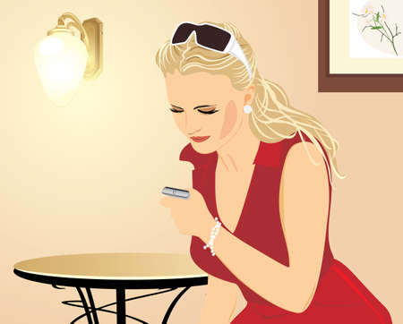 Beautiful woman with a mobile telephone in an antechamber Vector