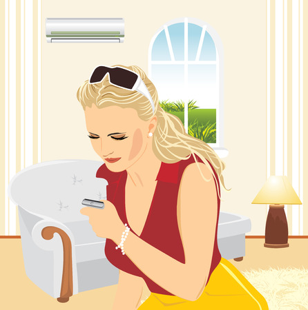 Young woman with a mobile telephone in the living room Vector