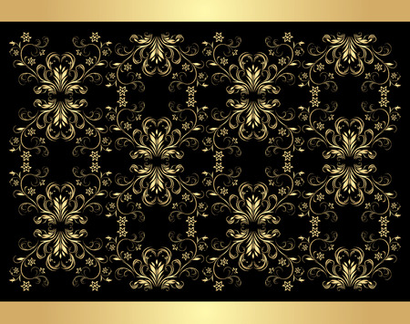 Decorative retro background. Golden isolated on the black Stock Vector - 8945523