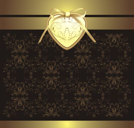 golden heart: Decorative retro background with heart and bow for design Illustration