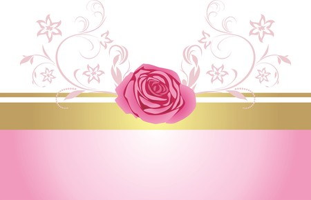 pink border: Decorative border with pink rose for design Illustration