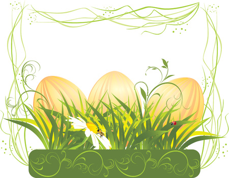 Easter eggs with grass and chamomile in the decorative frame Stock Vector - 8945530