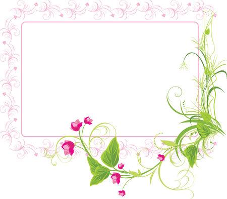 a sprig: Ramita con flores de color rosa. Marco Vectores