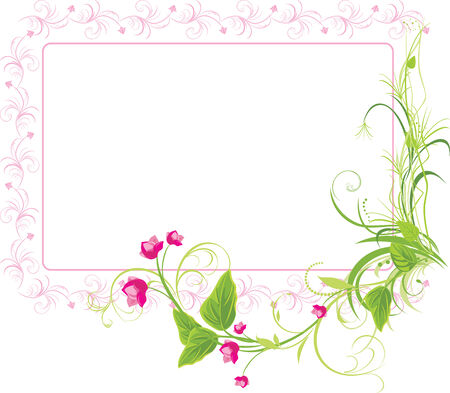 floral frame: Sprig with pink flowers. Frame Illustration