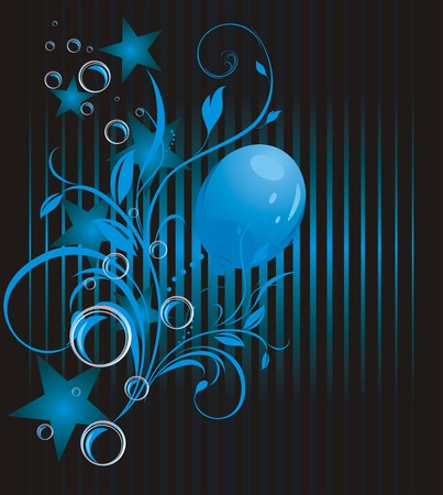 Blue balloon, stars and bubbles. Abstract background Vector