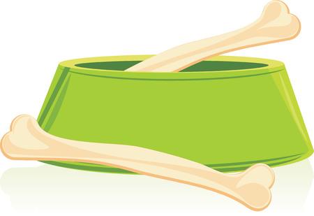 Huesos en un tazón de perro verde