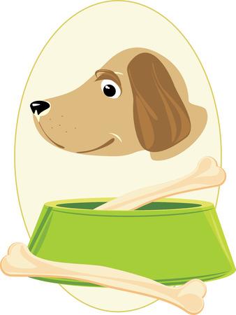 Boca perro y huesos en un cuenco verde. Pegatina