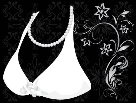 Pearly necklace and dress. Fragment Stock Vector - 9129879