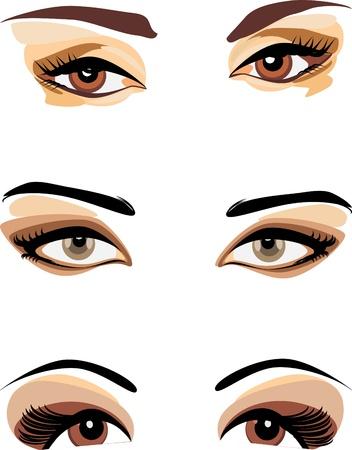 eyebrow makeup: Tre sguardi femminili isolati sul bianco Vettoriali