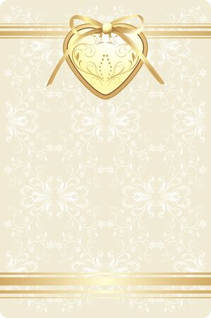 Golden heart with bow on the decorative retro background Vector