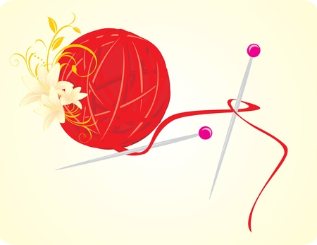 Ball of threads for knitting with spokes and lilies Vector