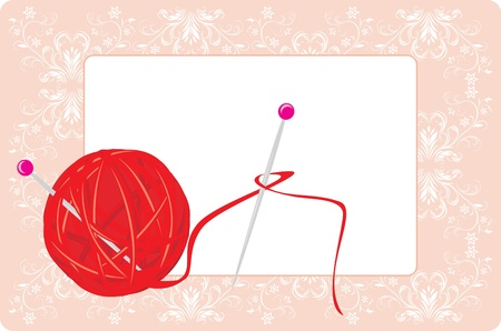 Ball of threads for knitting with spokes on the decorative background Vector