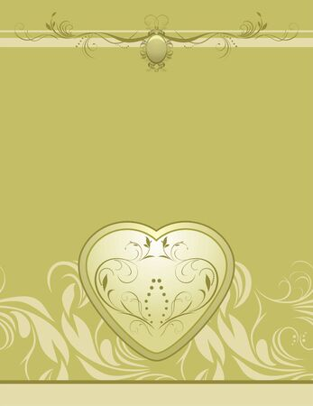 Heart on the decorative retro background Vector