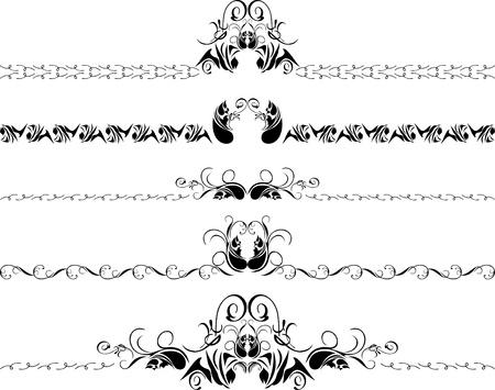 Cinco bordes decorativos Vectores