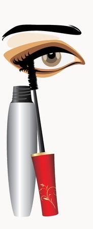 Mascara and female eye Vektorové ilustrace