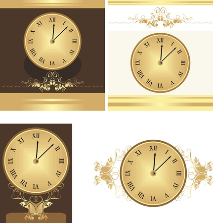 Collection of ancient clocks Vector