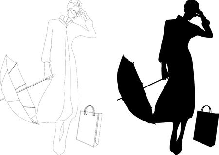 woman with umbrella: Silhouette of woman with umbrella Illustration