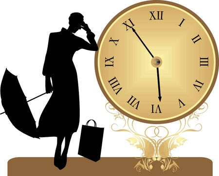 lady clock: Ancient clock and silhouette of woman with umbrella Illustration