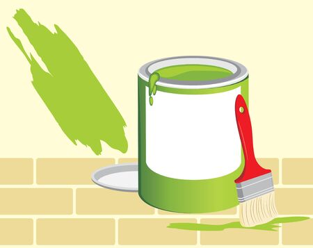 paint container: Jar with a paint and brush on the background of brick wall