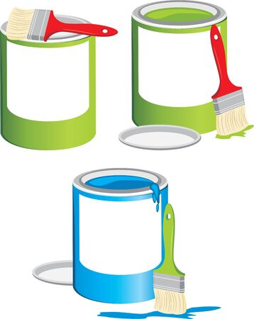 Jars with a paint and brushes Stock Vector - 9376444