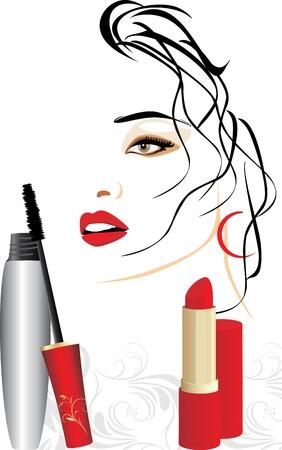 eyebrow makeup: Ritratto di rossetto e femmina di mascara, rosso