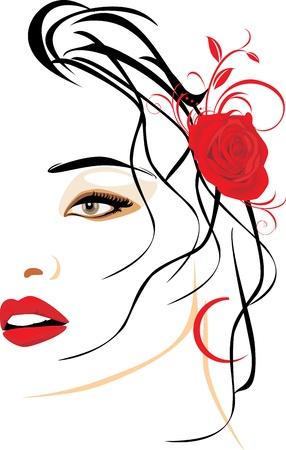 Retrato de una mujer hermosa con una rosa roja en el cabello