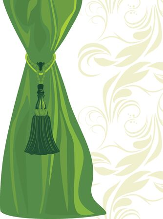 Green portiere with tassel Stock Vector - 9383143