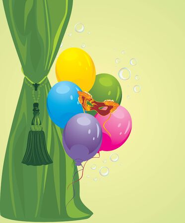 portiere: Green curtain and masquerade mask with balloons Illustration