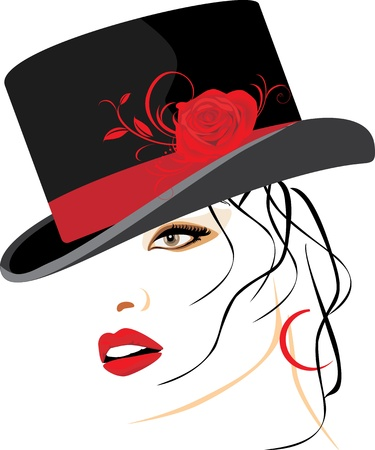 lips smile: Portrait of beautiful woman in a elegant hat with red rose