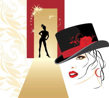 lips smile: Beautiful woman in a elegant hat and female silhouette Illustration