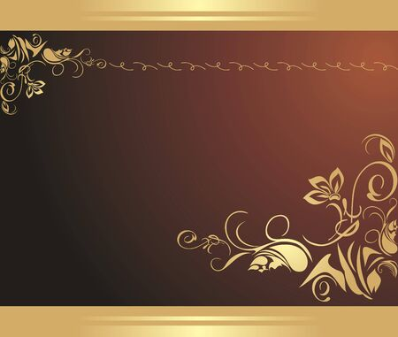 Golden floral ornament on the brown background. Decorative border