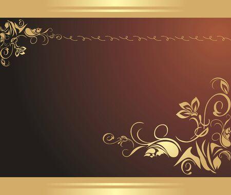 Golden floral sieraad op de bruine achtergrond. Decoratieve rand
