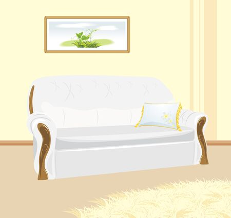 White sofa with pillow. Fragment of living room Stock Vector - 9447103