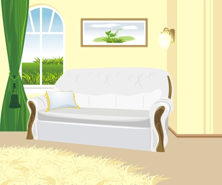 Fragment of living room. Classic style Vector