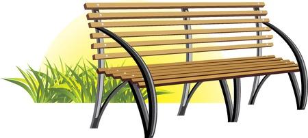 Wooden bench among a grass Vector