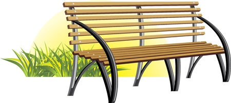 Wooden bench among a grass