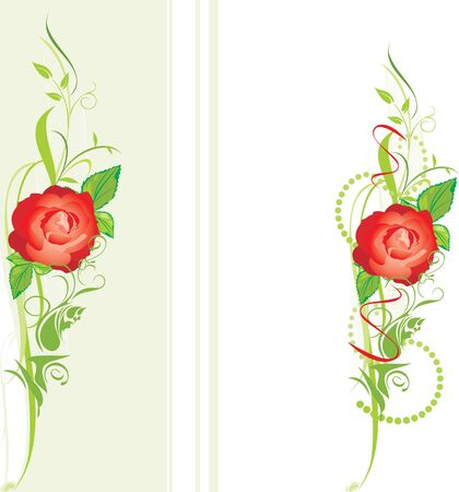 green leaves border: Decorative borders with red rose