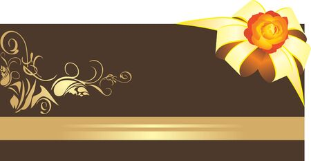 Golden bow with rose on the decorative border Vector