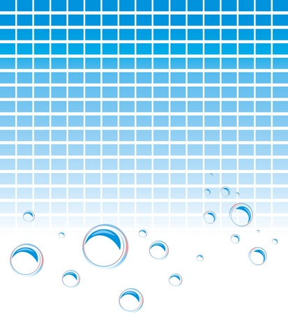 blue balls: Soap bubbles on the mosaic background Illustration