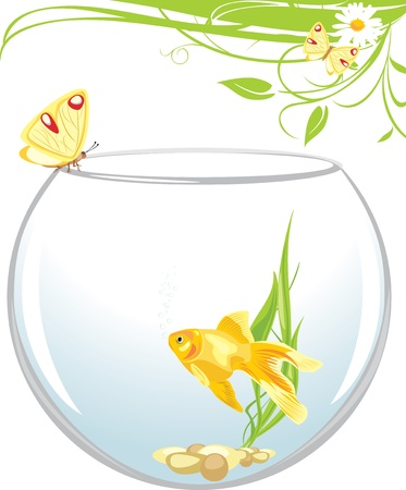 Goldfish and butterfly sitting on an aquarium. Spring composition Vector