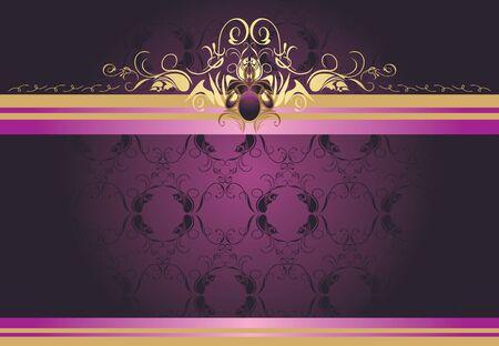 purple ribbon: Decorative retro border for design Illustration