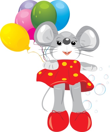 Mouse toy with colorful balloons Vector