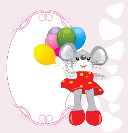 Mouse toy with colorful balloons. Greeting card Vector