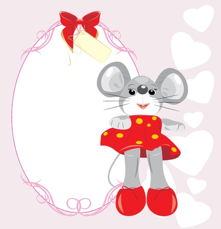 Greeting card with mouse toy Stock Vector - 9532831