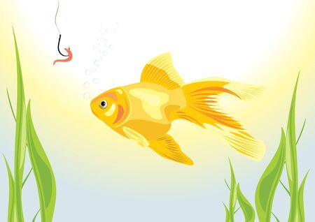 Goldfish and worm on a fish hook Stock Vector - 9532829