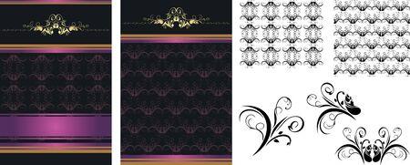 dark purple: Set of decorative backgrounds for design