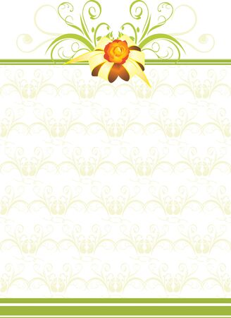 Golden bow with green ornament on the decorative background Vector