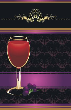 Glass of red wine with a vine on the decorative background. Wrapping Vector