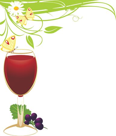 summer drink: Glass of red wine with a vine. Spring composition