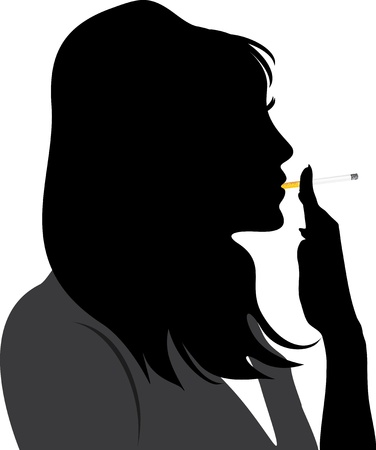 Silhouette of smoking woman Vector